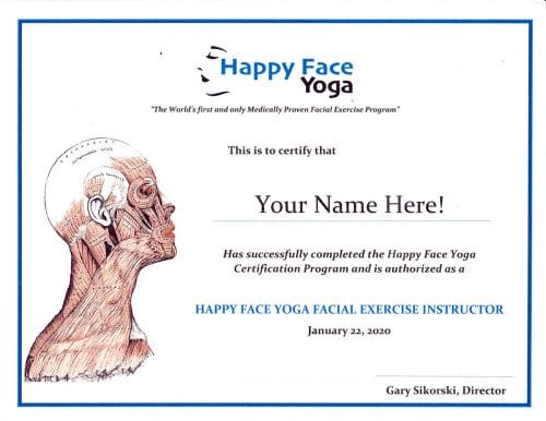 Certification to teach happy face yoga